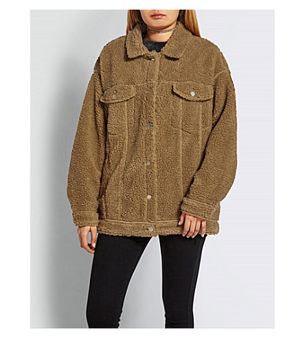 MISSGUIDED Oversized teddy-bear jacket (Tan