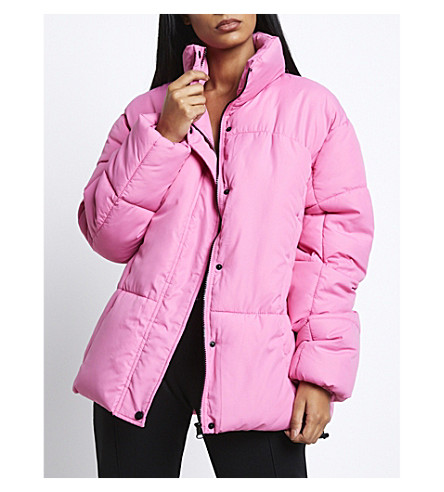 MISSGUIDED Oversized quilted jacket (Pink