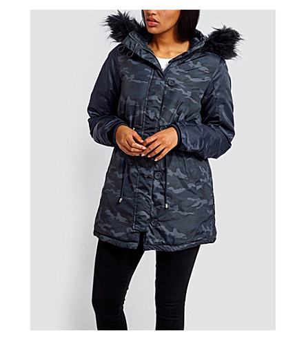MISSGUIDED Camouflage-print shell parka jacket (Navy