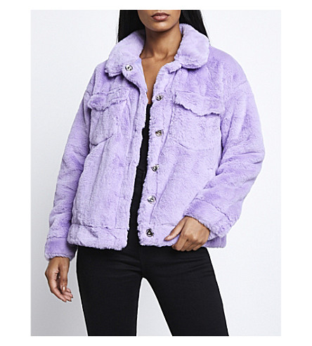 MISSGUIDED Oversized faux-fur jacket (Lilac