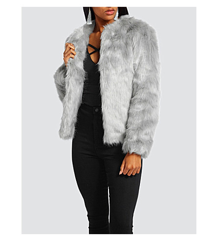MISSGUIDED Collarless faux-fur jacket (Grey