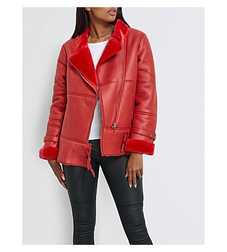 MISSGUIDED Oversized faux-shearling aviator jacket (Red