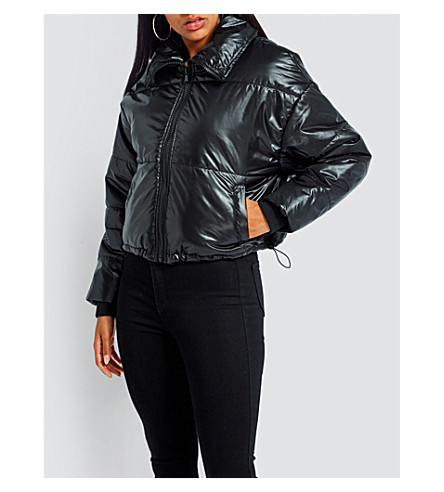 MISSGUIDED Glossy shell puffer jacket (Black