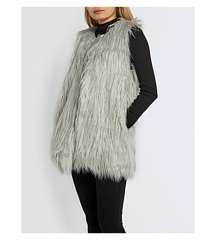 MISSGUIDED Mongolian faux-fur gilet (White