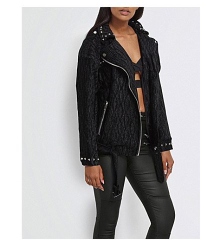 MISSGUIDED Textured velvet jacket (Black