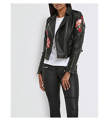 MISSGUIDED Floral-embroidered faux-leather jacket (Black