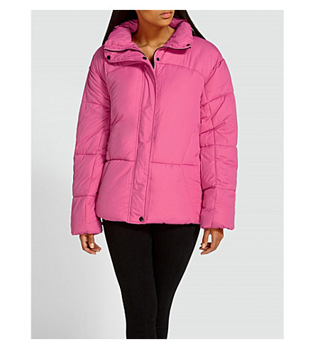 MISSGUIDED Oversized shell puffer jacket (Hot+pink