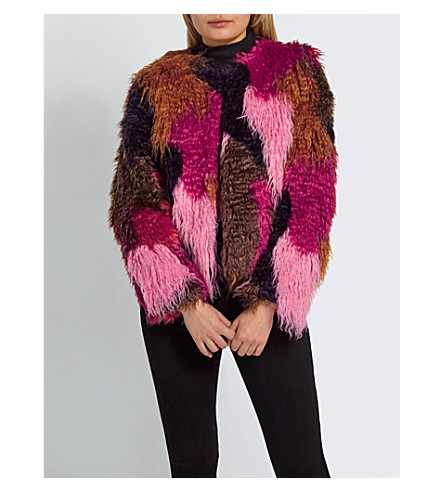 MISSGUIDED Patchwork faux-fur coat (Red