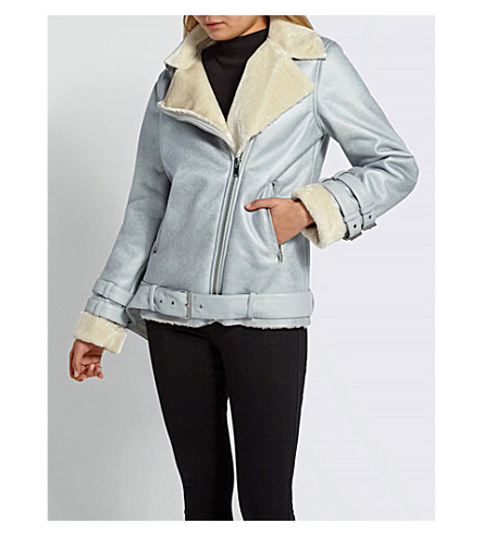 MISSGUIDED Biker-collar faux-shearling jacket (Grey