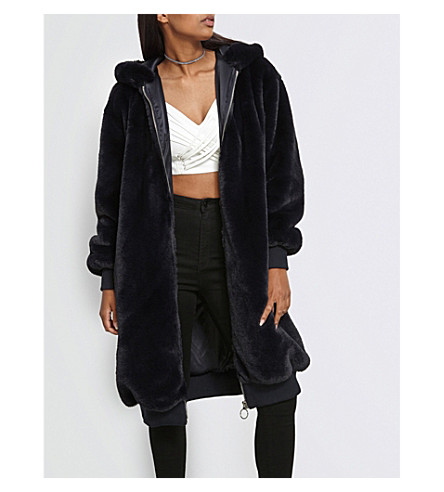 MISSGUIDED Hooded longline faux-fur bomber jacket (Navy