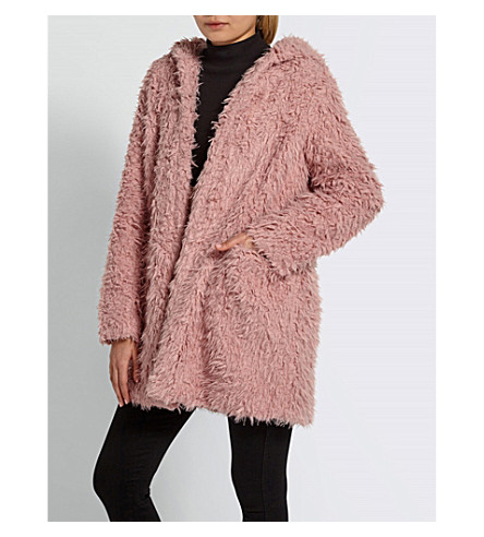 MISSGUIDED Shaggy faux-fur hooded coat (Pink