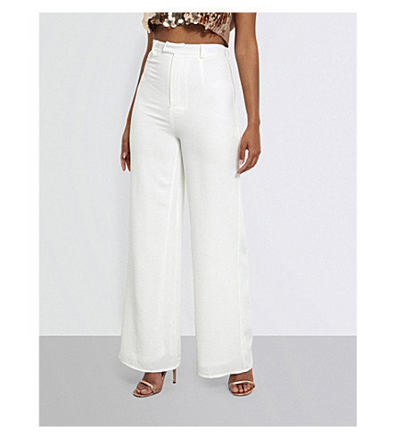 MISSGUIDED Wide high-rise crepe trousers (White