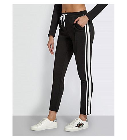 MISSGUIDED Stripe-panelled jogging bottoms (Black