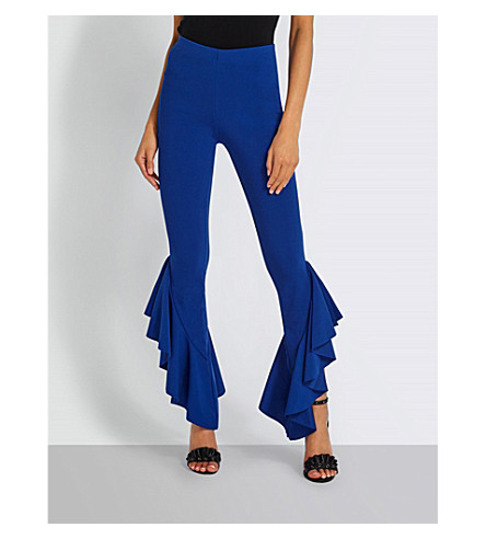 MISSGUIDED Frilled-hem stretch-woven trousers (Blue