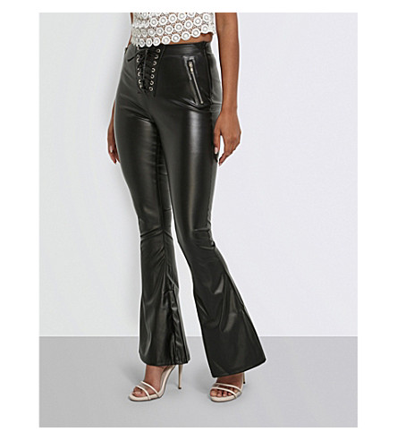 MISSGUIDED Flared faux-leather trousers (Black