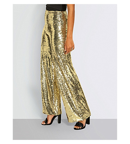 MISSGUIDED Sequinned wide-leg high-rise trousers (Gold