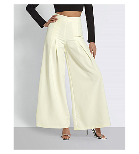 MISSGUIDED Wide-leg crepe trousers (White