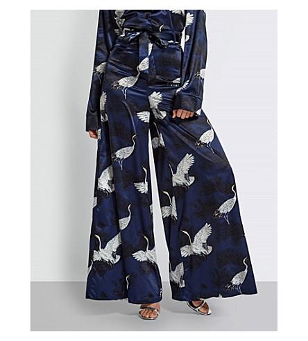 MISSGUIDED Bird-print satin trousers (Multi