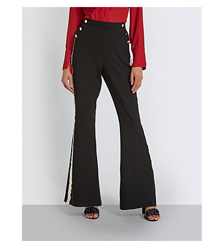 MISSGUIDED Striped kick-flare high-rise trousers (Black