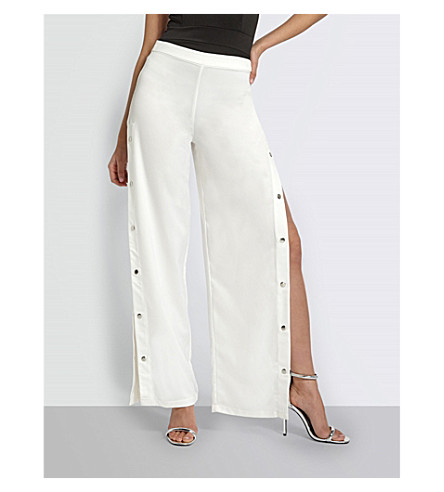 MISSGUIDED Popper-panelled woven trouers (White