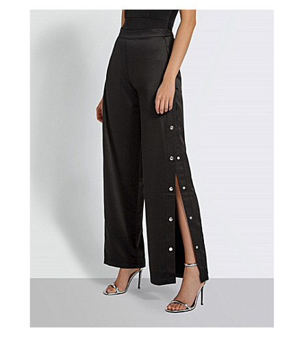 MISSGUIDED Popper side wide-leg high-rise woven trousers (Black