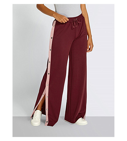 MISSGUIDED Contrasting stripe-panel jersey trousers (Burgundy