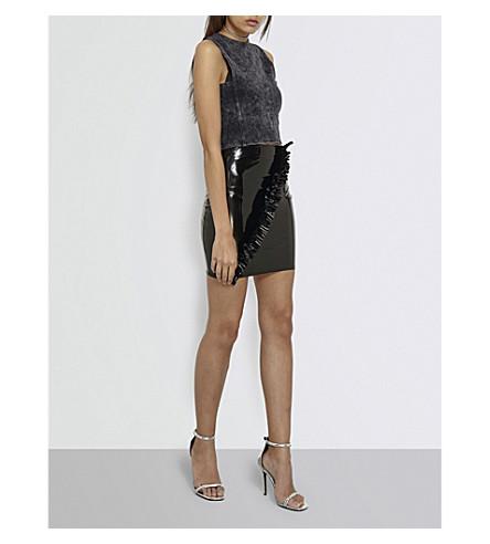 MISSGUIDED Frilled high-rise patent mini skirt (Black