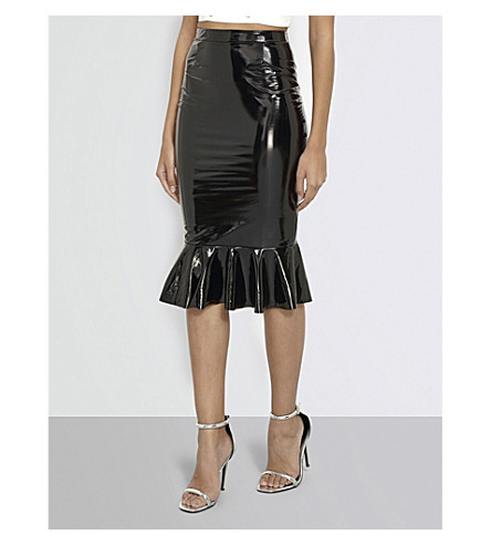 MISSGUIDED Flared-hem vinyl skirt (Black