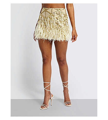 MISSGUIDED Sequin and feather embellished mini skirt (Nude