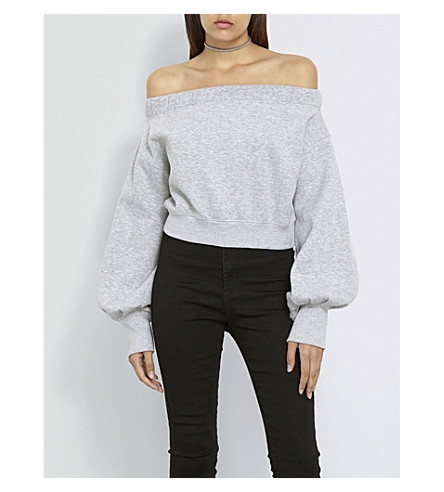MISSGUIDED Missguided x Londunn off-the-shoulder cropped jersey top (Grey