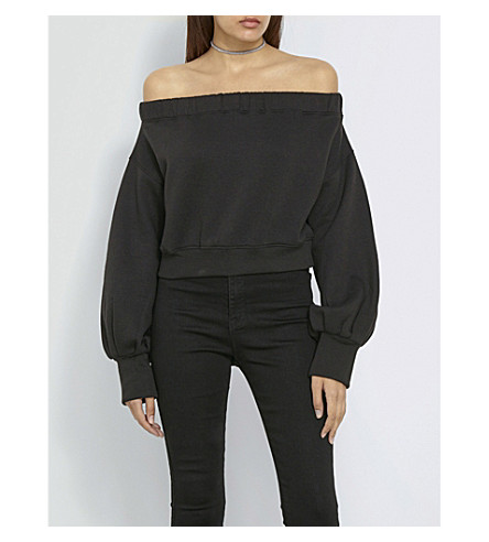 MISSGUIDED Missguided x Londunn off-the-shoulder cropped jersey top (Black