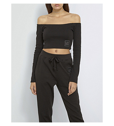 MISSGUIDED Off-the-shoulder stretch-jersey cropped top (Black