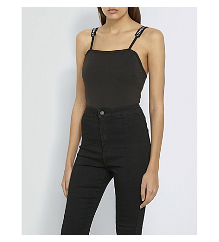 MISSGUIDED Branded-strap jersey body (Black