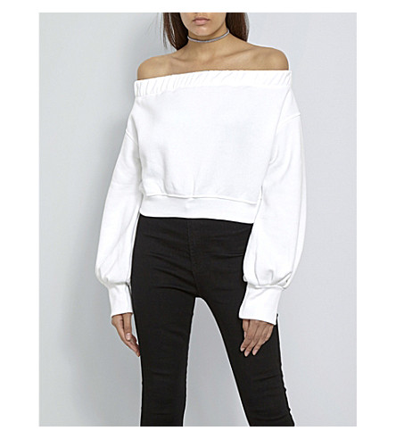 MISSGUIDED Missguided x Londunn off-the-shoulder cropped jersey top (White
