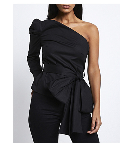 MISSGUIDED One-shoulder stretch-cotton top (Black