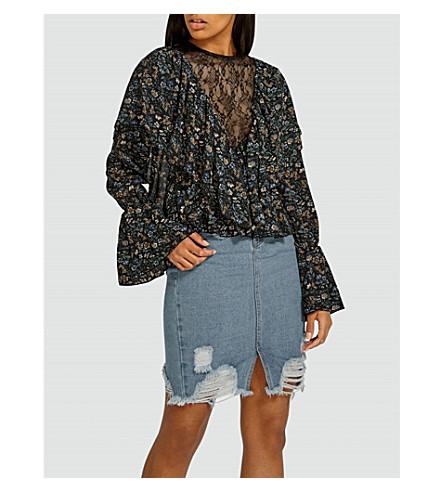 MISSGUIDED Floral-print crepe blouse (Black