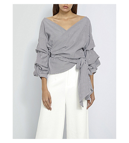 MISSGUIDED Striped wrap-over front poplin blouse (Grey
