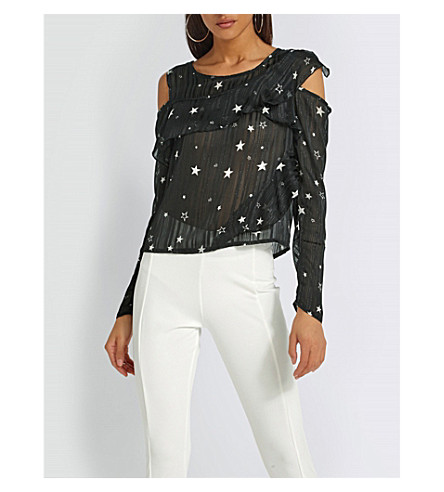 MISSGUIDED Cold-shoulder star-print chiffon blouse (Black