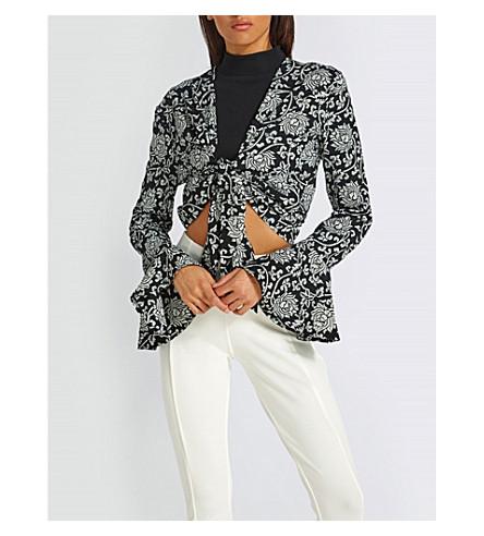 MISSGUIDED V-neck floral-print woven blouse (Black