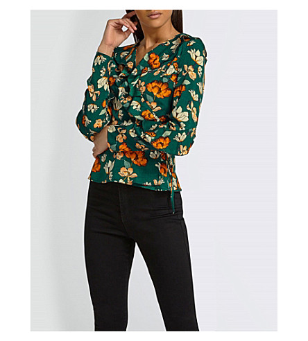 MISSGUIDED Floral-print woven blouse (Blue