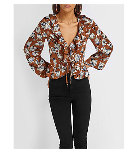 MISSGUIDED Ruffle-trim floral-print crepe blouse (Brown