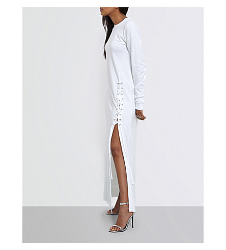 MISSGUIDED Lace-up-detail jersey dress (White