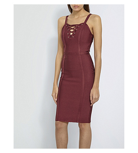 MISSGUIDED Lace-up-detail knitted mini dress (Rust