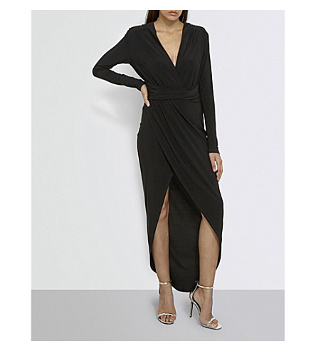 MISSGUIDED Plunge-neck woven dress (Black