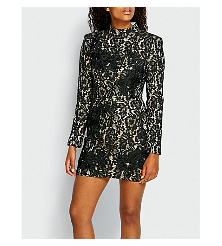 MISSGUIDED Embroidered lace mini dress (Black