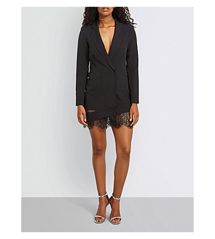 MISSGUIDED Lace-trim woven blazer dress (Black