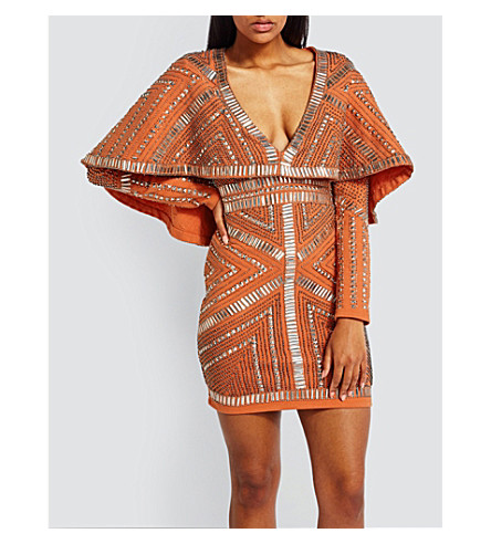 MISSGUIDED Kimono-sleeve embellished mini dress (Orange