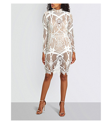 MISSGUIDED Embroidered lace midi dress (White
