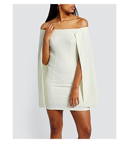 MISSGUIDED Off-the-shoulder cape-overlay mini dress (White