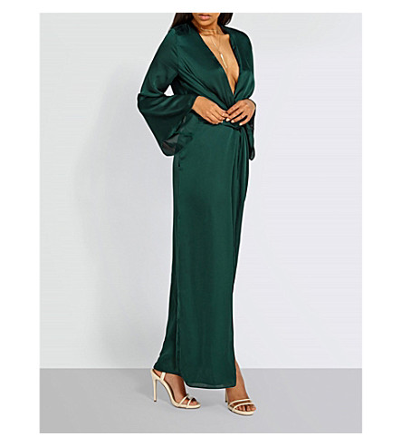 MISSGUIDED Plunge-neck satin maxi dress (Forest+green